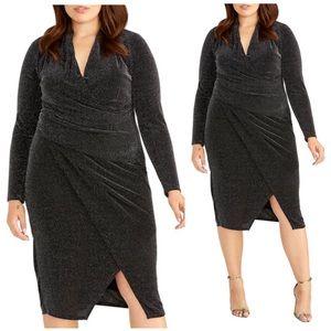 RACHEL ROY Bret Metallic Draped Knit Dress SZ 18W